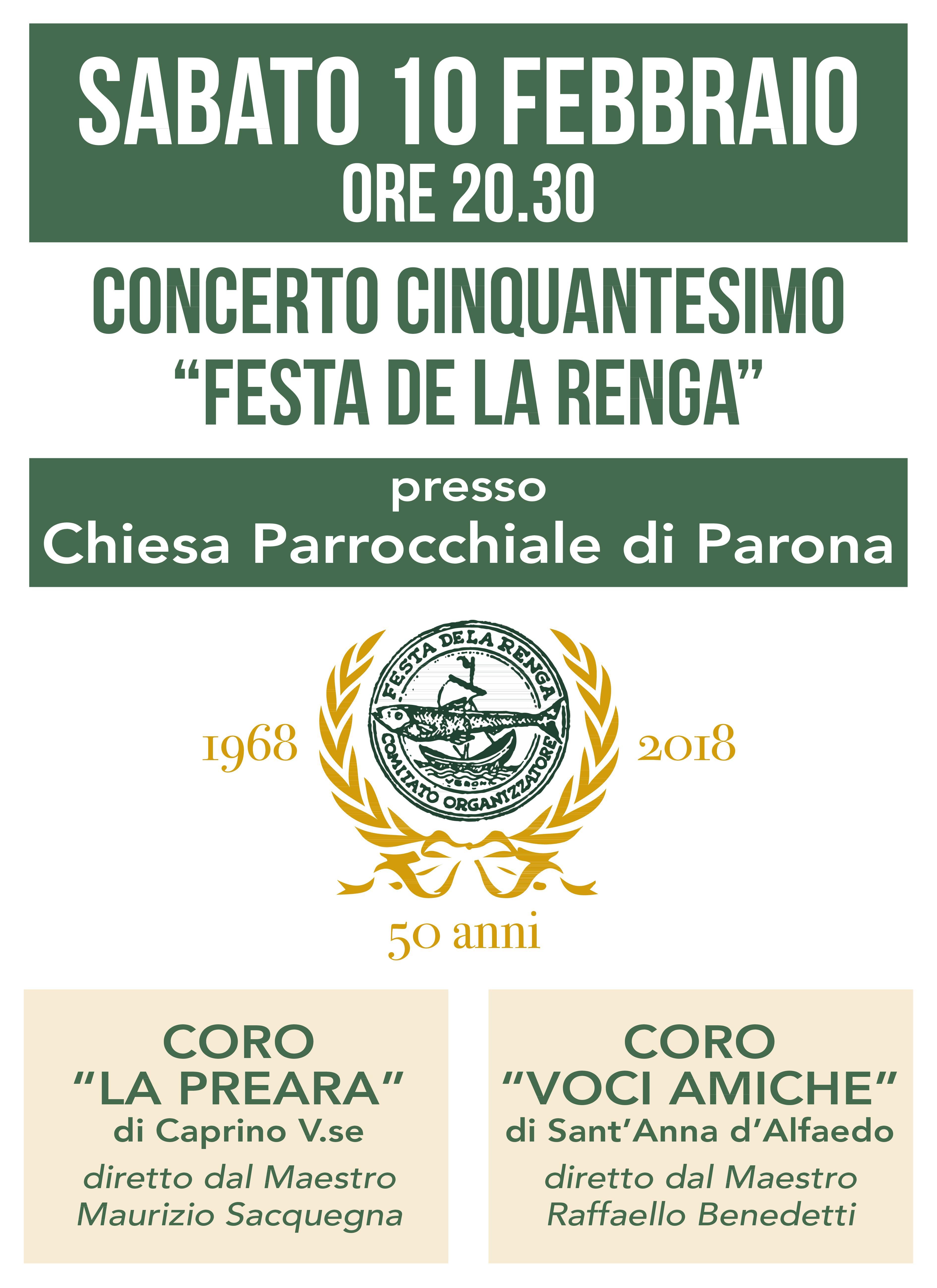 Festa della Renga - Locandina Concerto Cinquantesimo