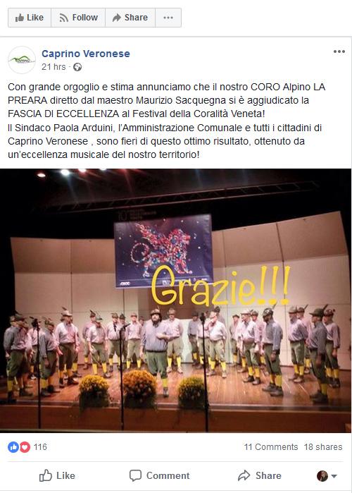 Caprino Veronese su Facebook